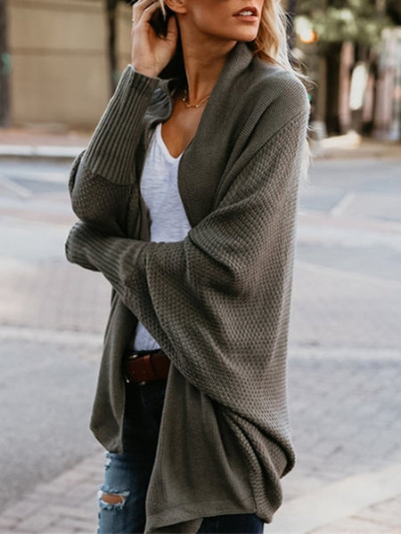Casual Cotton Long Sleeve Solid Sweater