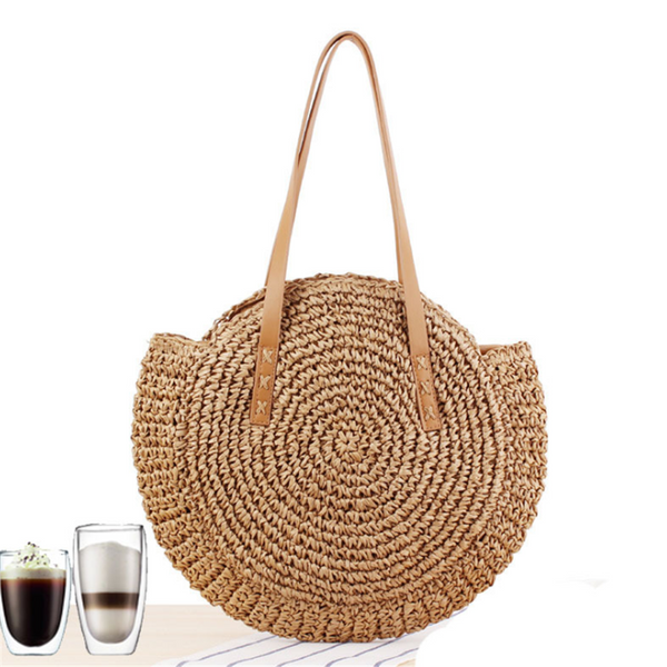 Simple round straw beach vacation handbag