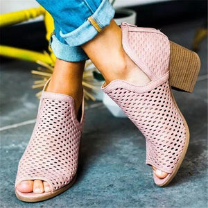 Women's Casual Openwork Fish Mouth Chunky Heel Sandals