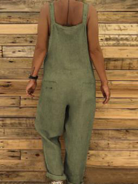 Cotton-Blend Casual Jumpsuits&rompers