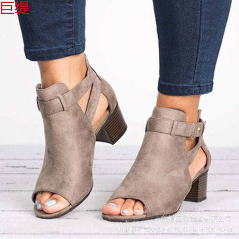 Summer shoes women's sandals high heels fashion sexy women's shoes bootie sandals fish mouth plus size 34-43