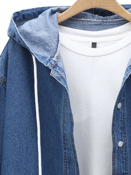 Casual Solid Hoodie Denim Buttoned Coat Outerwear