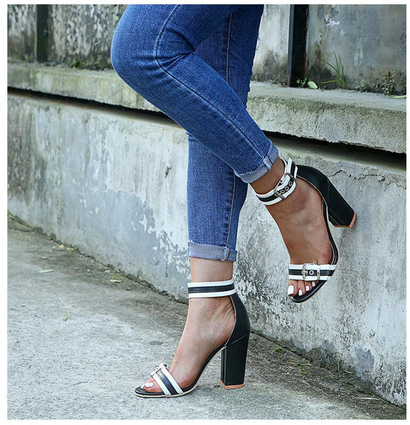Women Summer Sandals High Square Heels Open Toe Plus Size Leather Heels Pumps Shoes 10 CM Female Fashion High Heel Shoes
