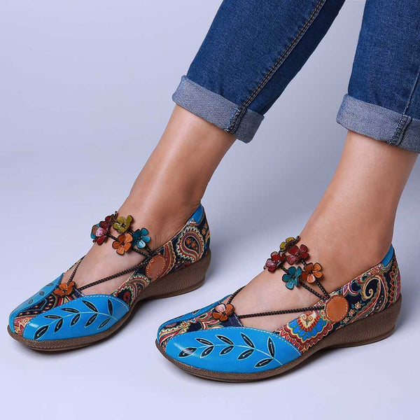 Folkways Flat Pattern Genuine Leather Splicing Jacquard Comfortable Elastic Band Flat Shoes Women Elegant Shoes