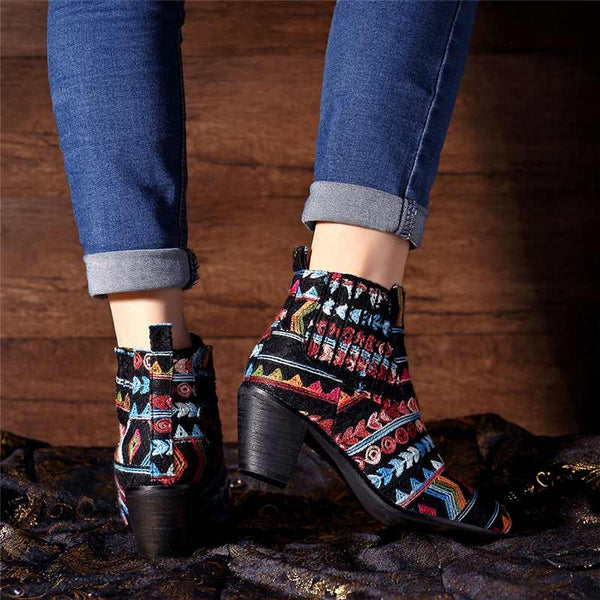 Retro Ethnic Weave Cloth Women Boots Winter Bohemian Elastic Slip-on Ankle Boots For Women Shoes Woman Booties