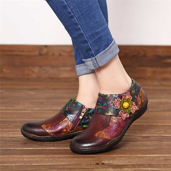 Retro Genuine Leather Splicing Flats Shoes Women Zipper Casual Loafers Soft Sole Sports Shoes Woman Vintage Flower Flats
