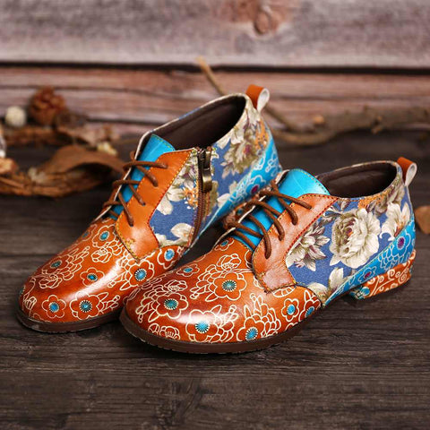Retro Casual Flowers Genuine Leather Lace Up Flats Ladies Shoes Elegant Loafers Shoes Women Botines Mujer