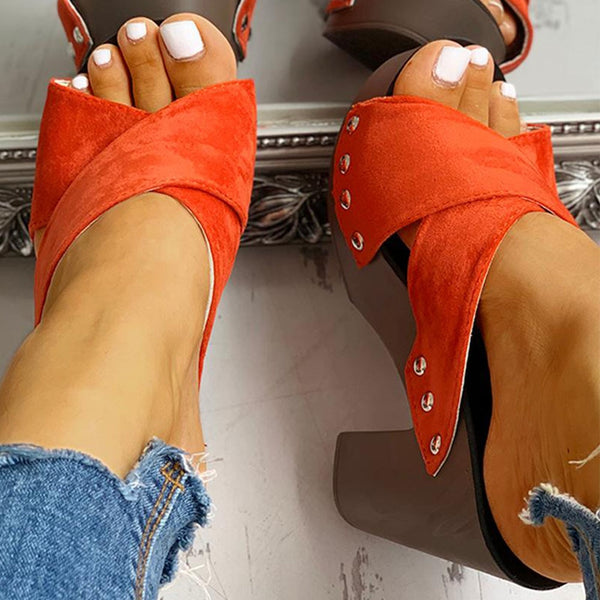 Leisure platform high heels women comfortable wedge sandal summer fashion woman shoes outdoor Mules shoes slippers