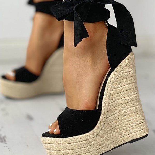 Sexy Platform Straw Wedges High Heels Shoes Sandals Woman Sexy Summer Party ankle-wrap Shoes Woman Sandals