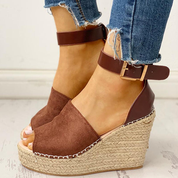 Plus Size 43 Wholesale Wedges Shoes High Heels Casual Platform Straw Comfortable Summer Women Shoes Woman Sandals