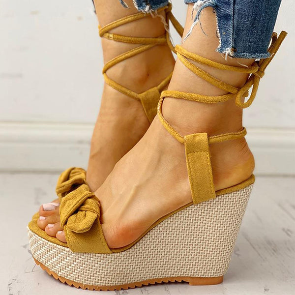 Wedges Shoes High Heels Casual Platform Fashion Sweet Bow Summer ankle-wrap Women Shoes Woman Sandals