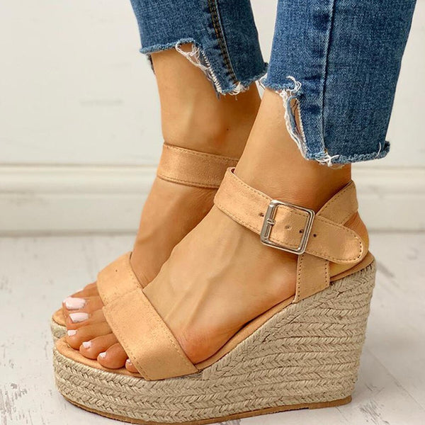 Leisure Large Size 43 Platform Summer Sandals Shoes Women Straw Wedges Heels ankle-strap Woman Footwear