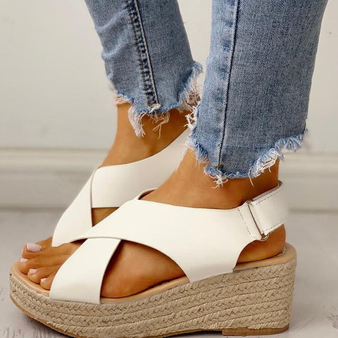 Leisure Large Size 43 Platform Summer Women Sandals Shoes Straw Wedges Heels hook&loop Woman Footwear