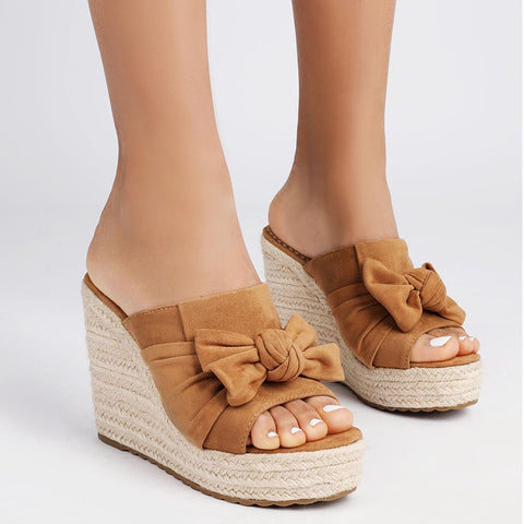 Plus Size 43 High Quality Summer High Heels Straw Platform Slipper Women Wedges Shoes Woman Sandals Female