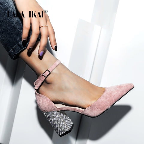 Wedding Shoes Women's Pointed Toe Square Crystal Bling High Heels Shoes Buckle Shallow Sandal Party Pumps