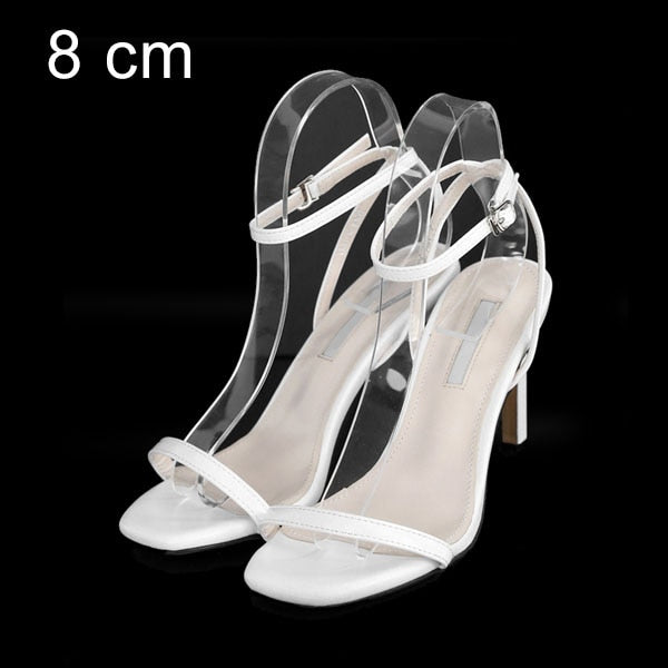 Leather Women Sandals Summer Shoes High Heels Ankle Strap Peep Toes Woman Party Shoes Black Slive Sandalia Mujer