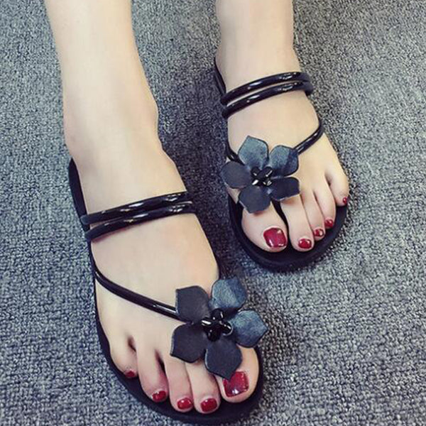 Leisure Flowers Beach Vacation Comfortable Flat With Summer Women Shoes Woman Flip Flops Women Slippers Footwear