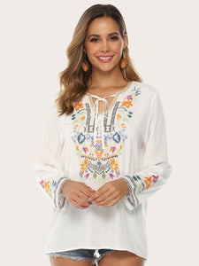 Bohemian Embroidered Floral V Neck Long Flare Sleeve Retro Blouses & Shirt Tops