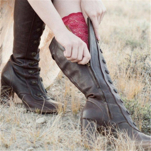Women's Vintage Double-Breasted Mid-Calf Boots