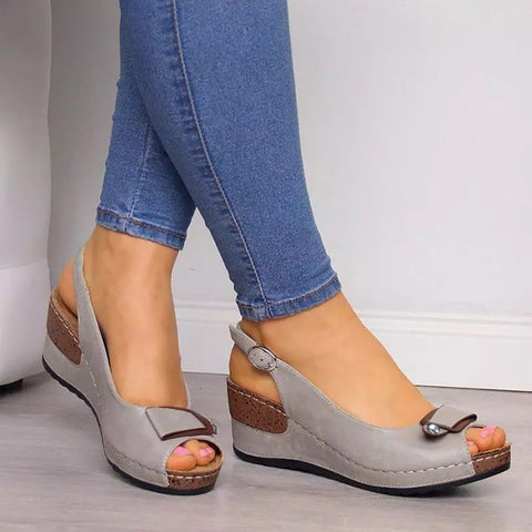 Rome Casual Sandals Women Wedges Sandals Pumps Ankle Buckle Open Toe Fish Mouth Med Summer Women Shoes Fashion Wedges Shoes
