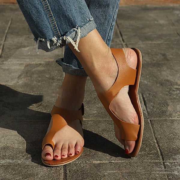 Women Plus Size Vacation Casual Sandals Magic Tape Flat Heel Sandals