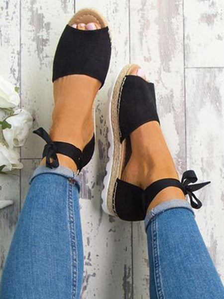 Solid Color Lace-Up Heel Casual Espadrille Sandals