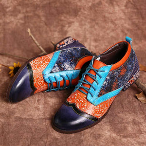 Bohemian Pattern Spots Colorful Stitching Genuine Leather Flat Shoes Loafers Elegant Ladies Shoes Women Botines Mujer