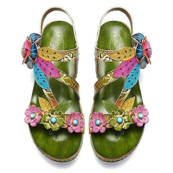 Comfortable Genuine Leather Sandals Flowers Pattern Splicing Stitching Floral Hook Loop Sandals Retro Shoes Women