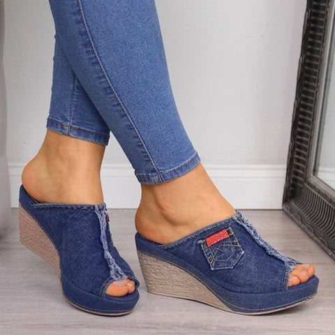 Shoes women slippers denim wedges sandals sexy open toe ladies high heels summer platform slides big size flip flops sandalias