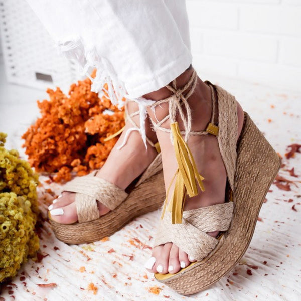 Summer Sandals Heels Wedge Sandals Ankle-Wrap Fashion High Heel Platform Ankle Strap Open Toes Women Sandals Shoes
