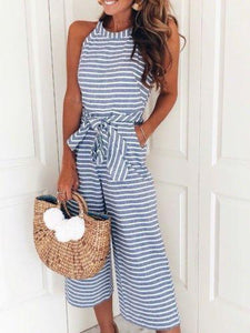 Vacation Style Stripe Sleeveless Round Neck Bowtie Rompers Jumpsuit