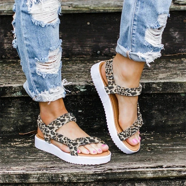 Women Summer Sandals Leopard Print Sandal For Beach Sexy Shoes New Lady Buckle Strap Light Comfort Shoes Female Casual  Soft Shoes