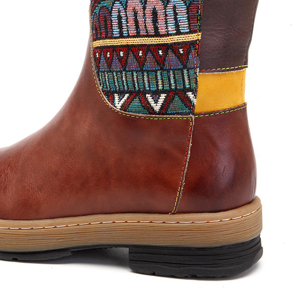 Boho Handmade Floral Embroidery Shoes Splicing Pattern Flat Genuine Leather Mid-Calf Boots Booties