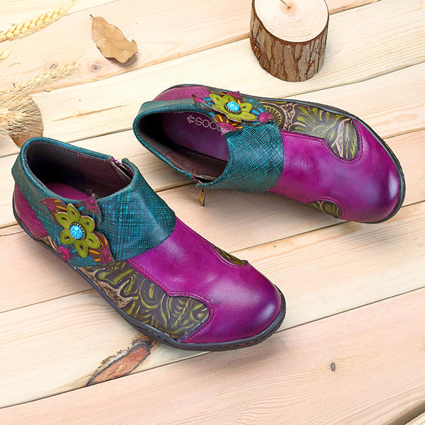 Retro Handmade Printing Splicing Plant Pattern Hook Loop Flat Genuine Leather Shoes Loafers