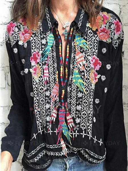 Ethnic Long Sleeve Floral Embroidery Loose Vintage Boho Blouse Cotton Shirt