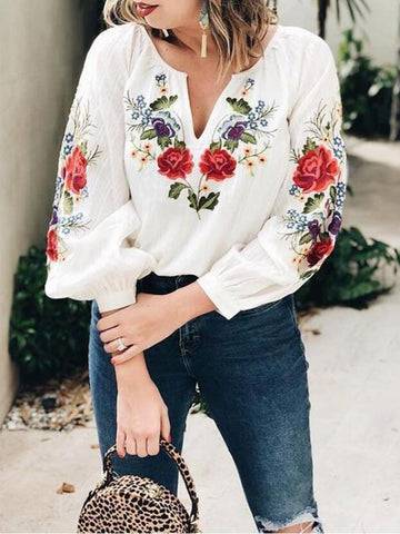 Vintage Floral Embroidery V Neck Ruffle Long Sleeve Loose Cotton-Blend Blouse Shirt
