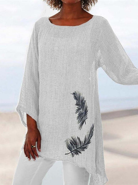 Summer Plus Size Feather Print Crop-Sleeved Blouse