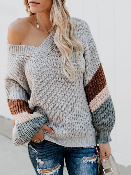 Multicolor Stripe Sleeve Bloomer Sleeve Loose V Neck Chunky Sweater