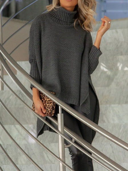 One Size Turtle Neck Loose Batwing Sleeve Asymmetric Oversize Chunky Sweater