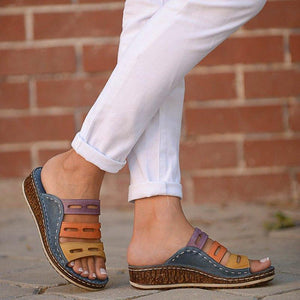 Multicolor Color Block Wedges Peep Toe Mule Sandals Casual Daily Loafers
