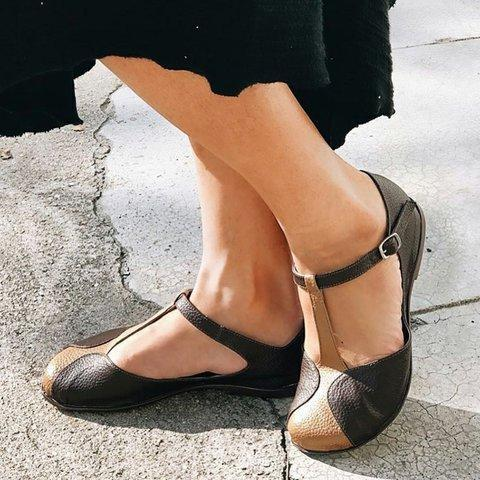 Retro Closed Toe T-Strap Ankle Strap Sandals Vintage Shoes Casual Daily Loafers