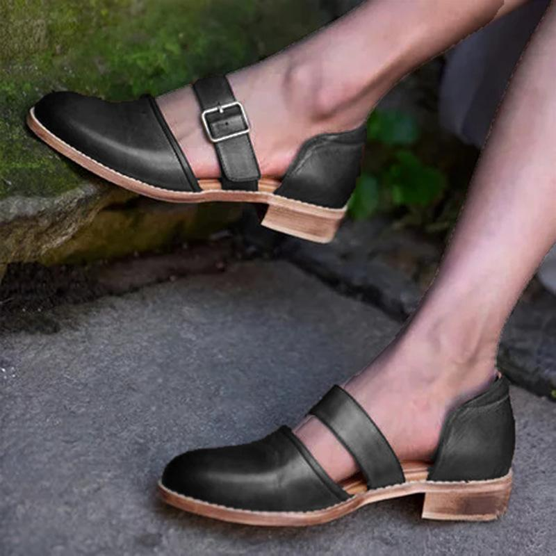 Vintage Summer Low Heels Buckle Hollow Sandals