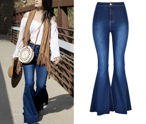 70s Retro Loose Wide Leg Jeans Casual Flared Slit Denim Pants