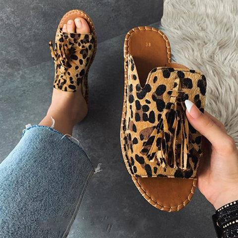 Casual Leopard Print Tassel Mules Peep Toe Slip-On Sandals