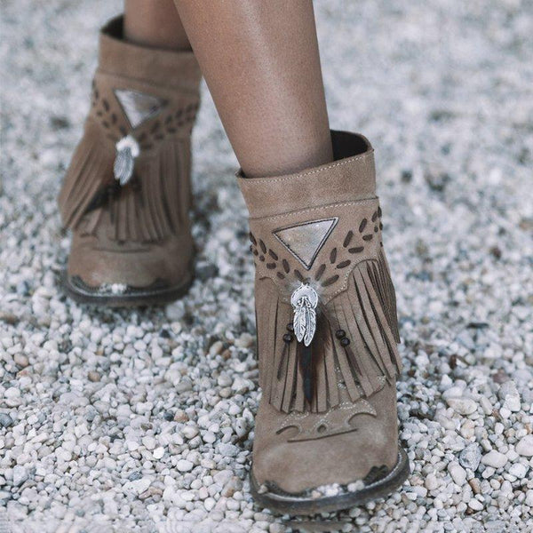 Women's Ethnic Style Brown Feather Tassel Artificial Suede Low Heels Boots