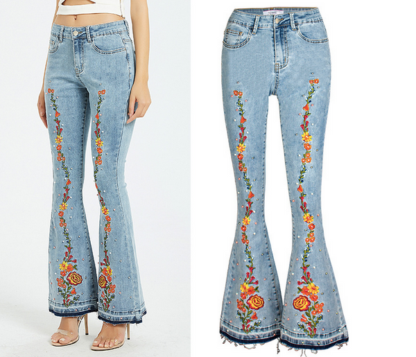 Fashion Casual Loose Bell-Bottom Jeans Floral Embroidery Denim Pants