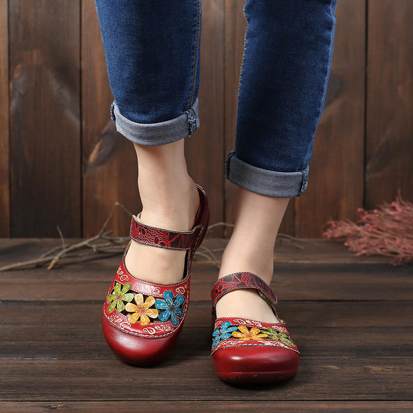 Retro Handmade Floral Hollow Out Slip On Flat Genuine Leather Sandals