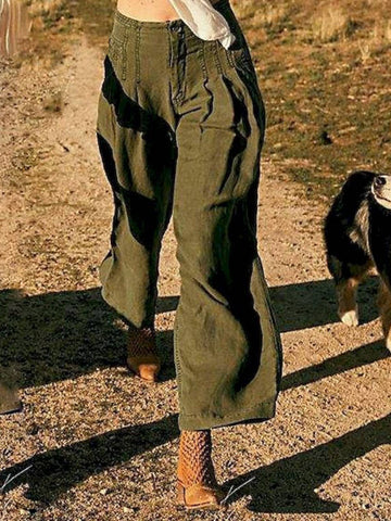 Army Green Casual Cotton Plain Pants