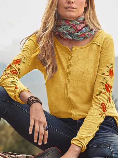 Cotton-Blend Long Sleeve Crew Neck Shirts & Tops - chiclila.com