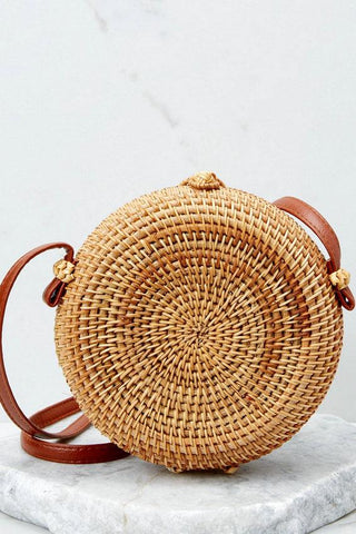 Comes Naturally Tan Round Purse Straw Bag
